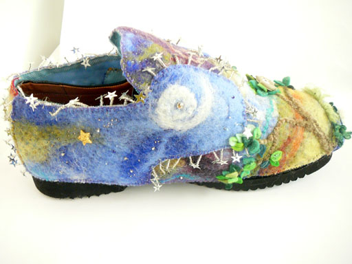 side view showing sequins and bead stars embellishing handmade felt shoe cover