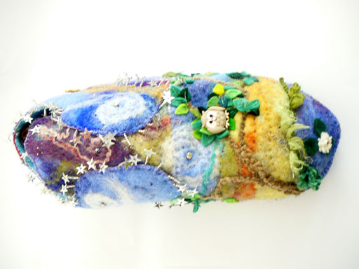 "Starry night shoe made from handmade ,""wet"", felt,embellished with glass beads,an owl button,metallic threads,sequins"