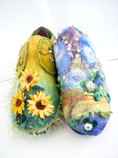 hand stitched,embellished,felt shoe covers,depicting night and day and the theme of walking in beauty
