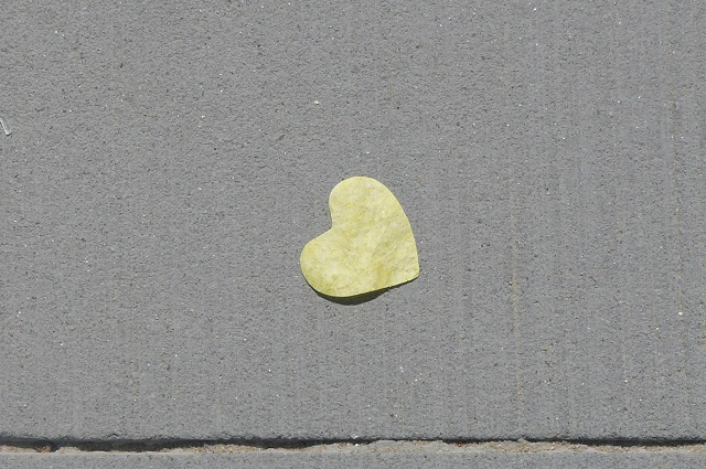 A paper heart that lay on the footpath at St'Kilda